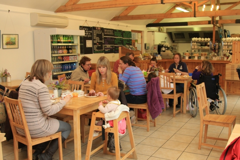 The tea room with plenty of people enjoying lunch