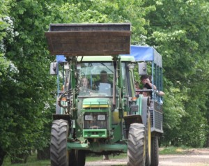 A front view of the tractor and trailer ride which runs during the summer months