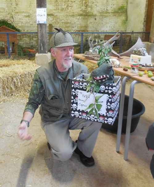 NIgel with Snappy the crocodile teaching the children about nature