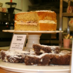 The lovely home-made cakes served in our Tea Room, victoria sponge and epic brownies