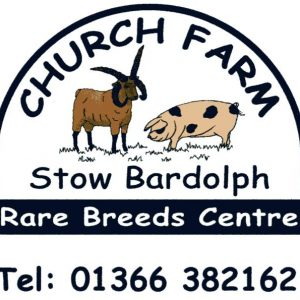 Church Farm logo of a goat and pig with the phone number